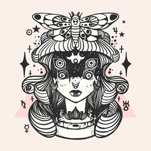 Strange four-eyed girl with death head moth. Created with iPad, Apple Pencil, and Adobe Draw.