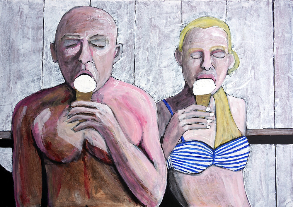 Ice Cream 2019, latex on hardboard, 24 × 34 in, 61 × 87 cm Father and daughter rest against the wall in the warm sun eating ice cream.