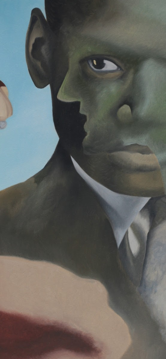 The Observation of Decadence. This is a fragment of a panel. The work was developed for a project about coffee, something of a luxury, the luxury of spending time in a cafe. This was the core of this idea; the black man representing being shut out of a rich person's world, represented by the fragment of the woman's face on his, a profile of a film star. The man here is Oscar Devereaux Micheaux, the first successful African American film maker from the silent era, and so a pioneer in a caucasian world.