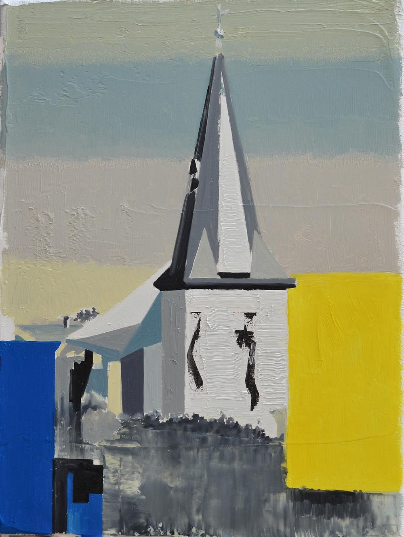 Church Tower, 2018. Oil on linen, 18X24 cm