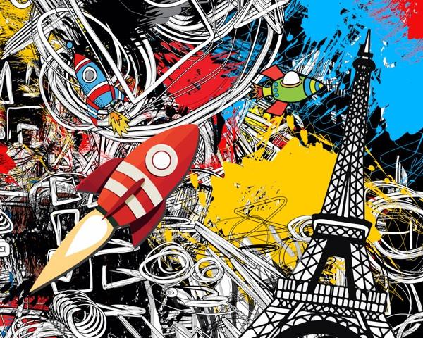 Paris 2030 Graffiti Style, Digital Work on Fuji Acrylic Panel Artist: romanho