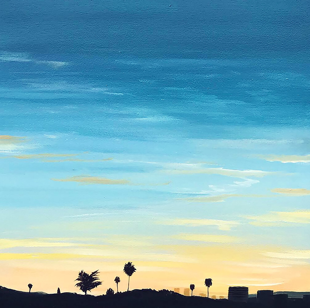 View Towards Santa Monica - (8x8x2in, acrylic on panel, 2020).  This painting is a scene from my old apartment in West Los Angeles. My roommate and I used to sit on our balcony and watch the sunsets towards the coast. Santa Monica is just over the horizon in this photograph. On a clear day you could see the rolling mountains along the coast. I miss that view everyday.