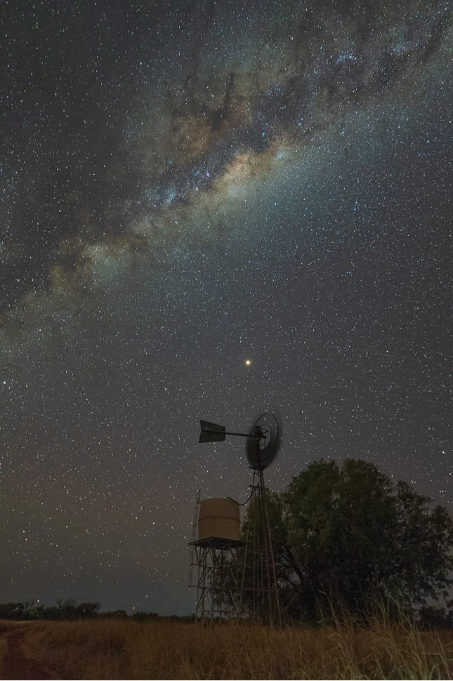 The first image of the milky way & windmill was captured in Remote Central Australia at the Surveyor  Generals Corner.