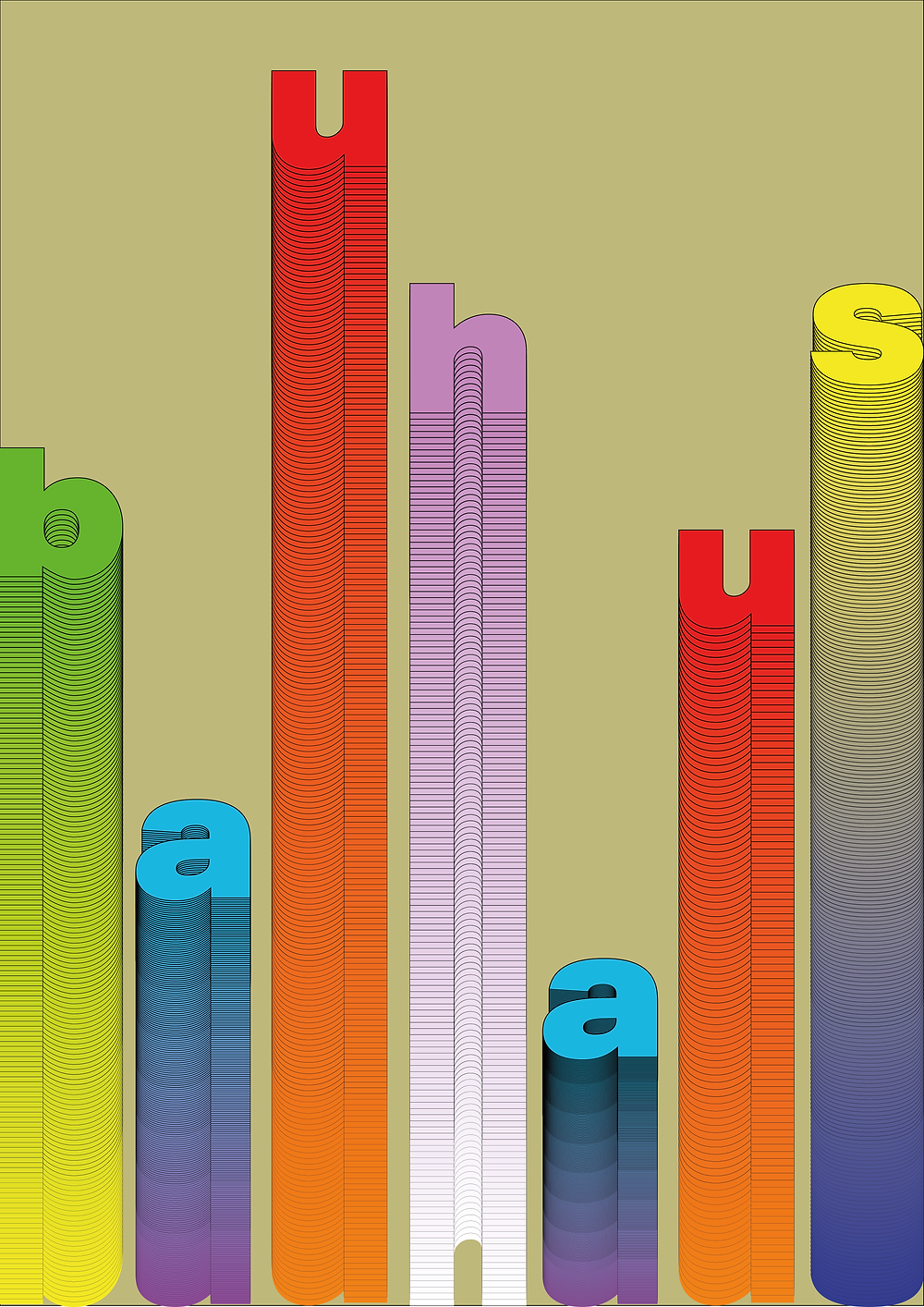 Bauhaus: With it being 100 years of Bauhaus I wanted to encapsulate this with a design. I stretched the letters downwards to represent the illustrious heritage the iconic movement has and I used the colours to give the piece a zingy pop. I think it worked well and it's one of my favourite pieces i've designed this year so far.