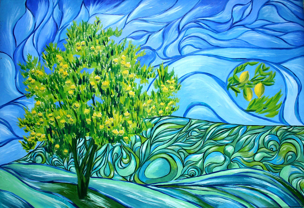 Lemon Tree; canvas, oil; 2018; 100 x 150 centimeters; 39.37 x 59.06 inches
