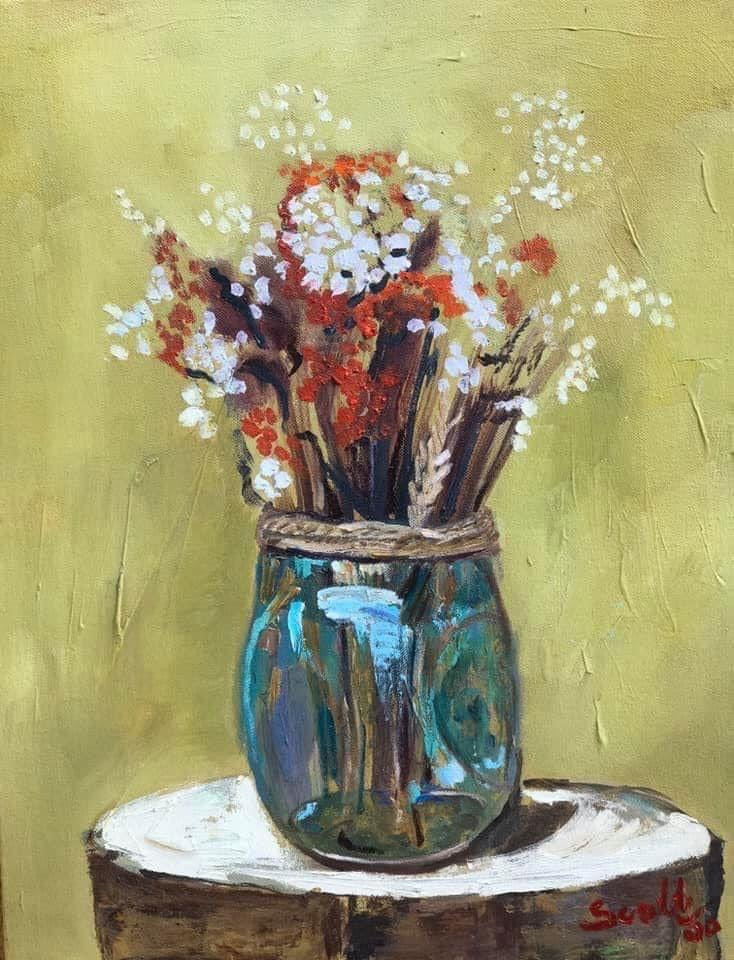 Bouquet des Champs Rachelle Scott Oil on Canvas 50x40 cm 2020
