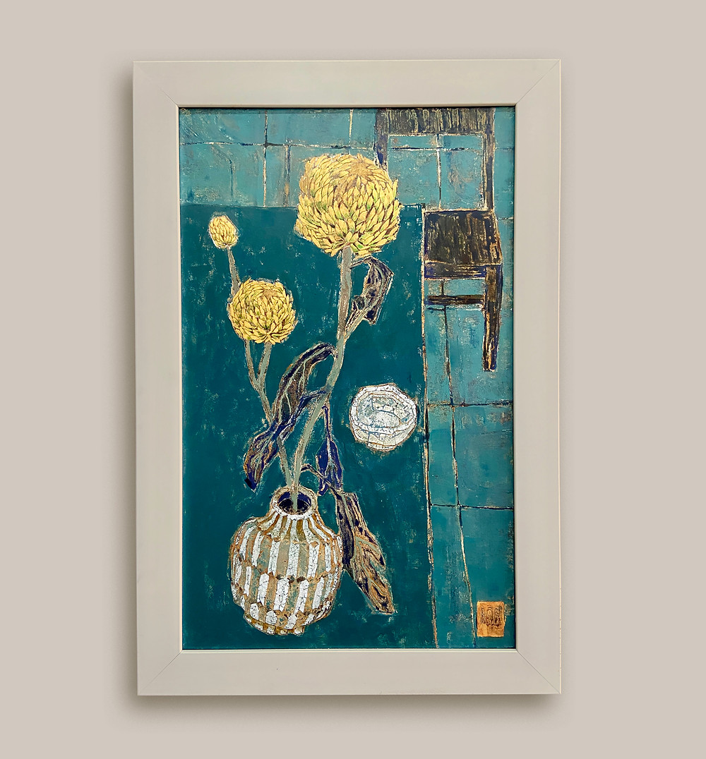 till life with chrysanthemum - Lacquer art