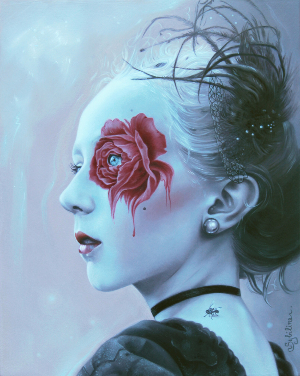 Bloody Desire:  Oil on panel, 8'' x 10'', 2017, SOLD Presented for ''Loved to Death'' exhibition at Modern Eden Gallery (2017) Inspired by Romantic/Vampire atmosphere