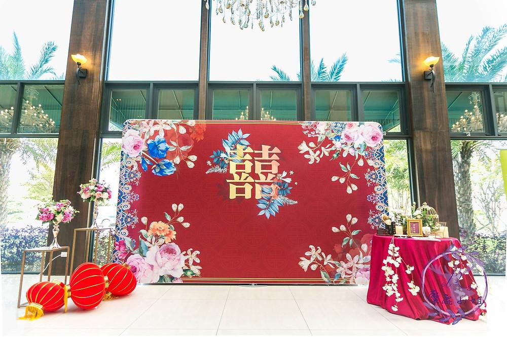 婚禮背版 中國風背版 龍鳳掛 訂婚 紅色禮服 晶麒莊園婚禮佈置