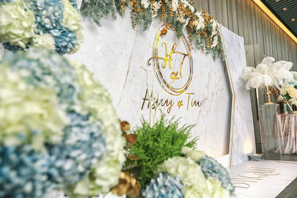 南方莊園婚禮背版 大理石背板 中壢婚禮佈置