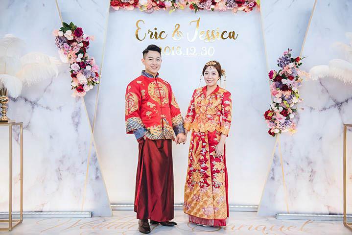 婚禮背版 中國風背版 龍鳳掛 訂婚 紅色禮服