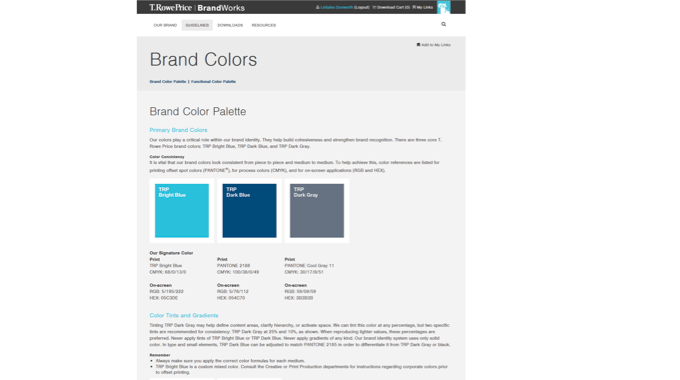 T. Rowe Price Brand Ecosystem (Guidelines and Brand Center)