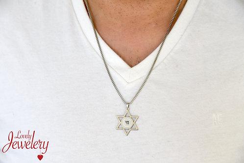 שרשרת מגן דוד לגבר חריטה אישית/תמונה