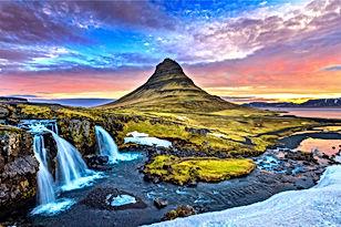 Kirkjufell at sunrise in Iceland. Beauti