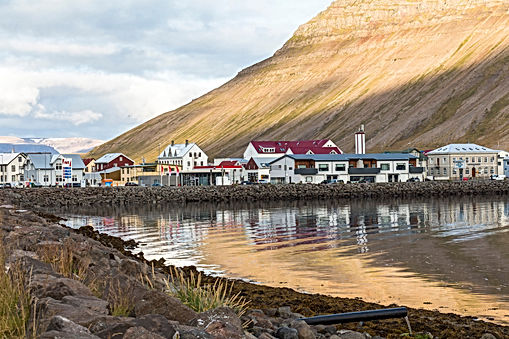 Water reflections at Isafjordur, west fj