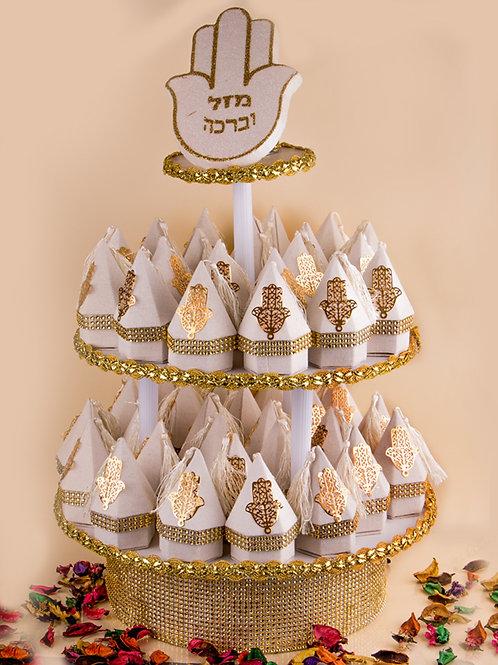 מזכרות עיצוב חינה לבן וזהב טגין עם חמסה זהב