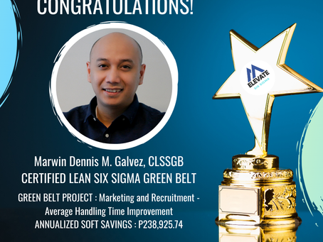Marvin Galvez earns his Lean Six Sigma Green Belt Certification today.