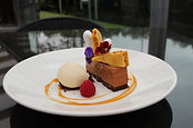 A chocolate and homemade honey comb dessert at The Church Restaurant, Bar and Café, Letterkenny, County Donegal, Ireland
