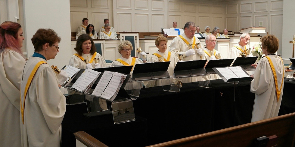 Bell Choir plays during service