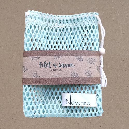 NEMESKA - Filet à savon - coton Bio - bleu