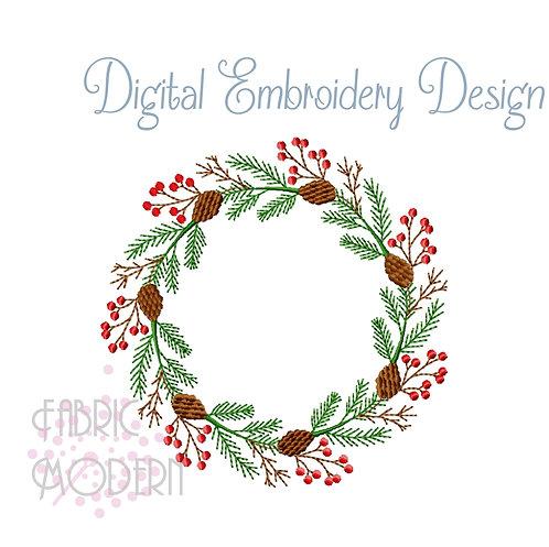 Winter Wreath 5x5 Embroidery Design