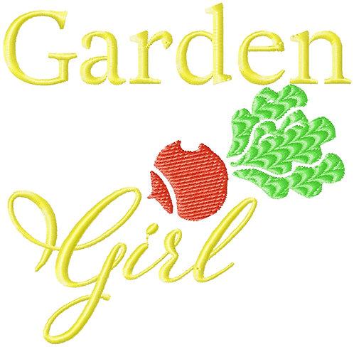 Garden Girl Embroidery Design 4x4 #1162