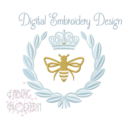 French Queen Bee Laurel Embroidery Design