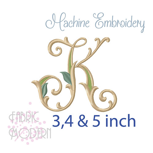 Fancy Letter K monogram three color #1128K