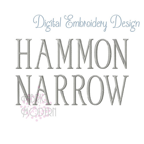 HAMMON Narrow caps Embroidery font alphabet #1034
