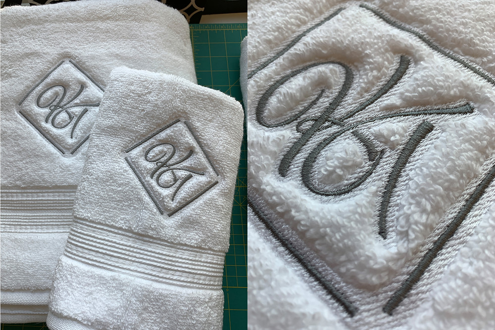 Plush towels monogrammed with special knockdown stitching