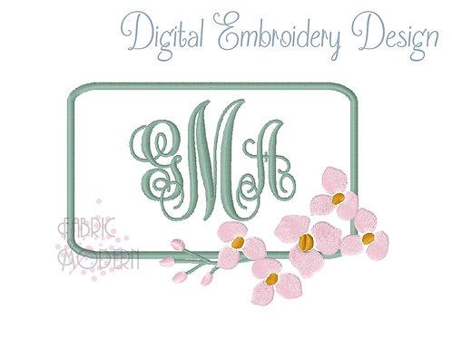 Chinoiserie Monogram frame Embroidery Design Cherry Blossom rectangular applique