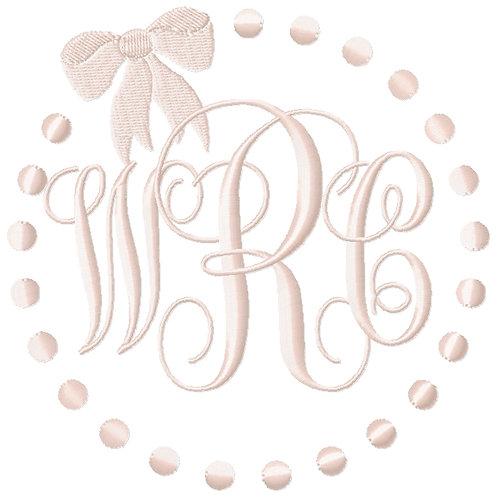 Pearl Dots and bow Monogram frame Monogram circle wreath circle dot monogram