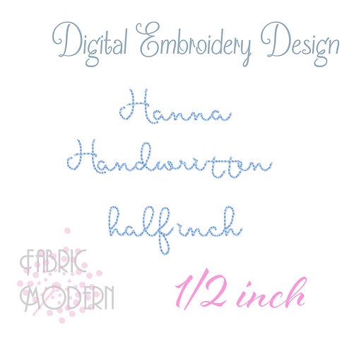 1/2 inch Hanna Handwritten font  #1047