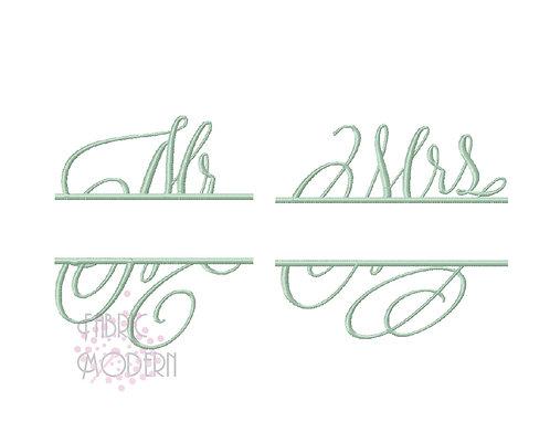 Mr & Mrs split Embroidery Designs #498