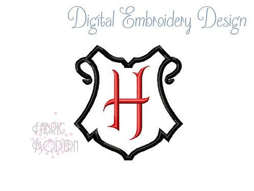 HARRY wizarding monogram Crest frame Applique'