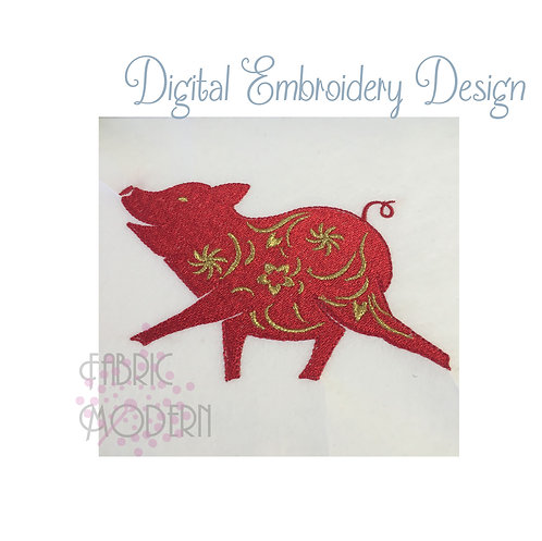 Year of the Pig Embroidery Design