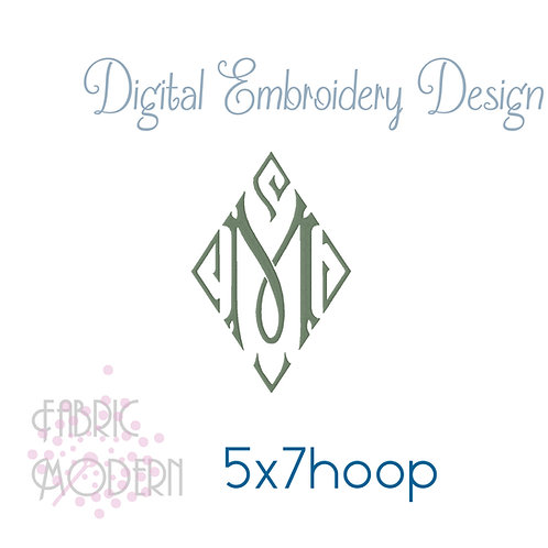 5x7 Vintage style Diamond Monogram font Embroidery Design #1126-7
