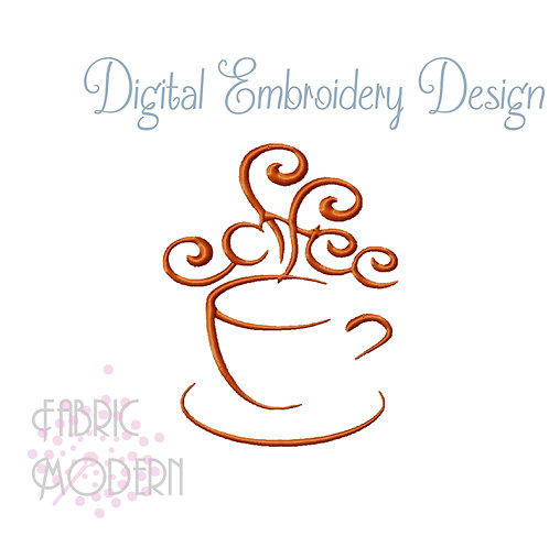 Coffee cup embroidery design #1073