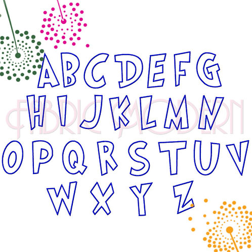 CARTOON FONT Applique'  embroidery font 4inch #618