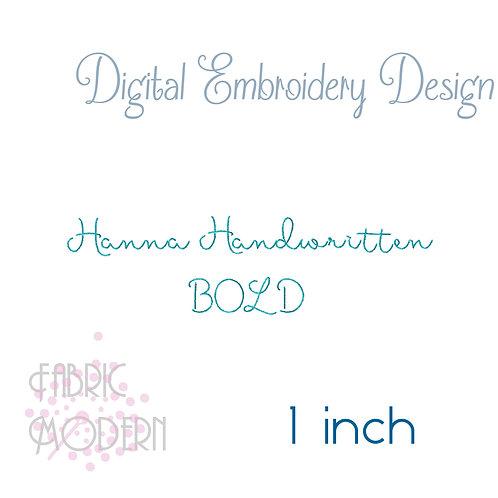BOLD 1 inch Hanna Handwritten font  #934B-1