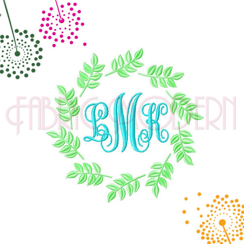 Laurel wreath LEAVES CIRCLE FRAME Machine Embroidery Design