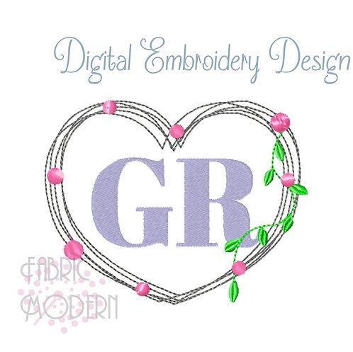 Minimalist Heart wreath Embroidery design