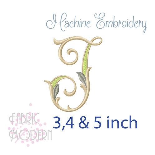 Fancy Letter J monogram three color #1128J