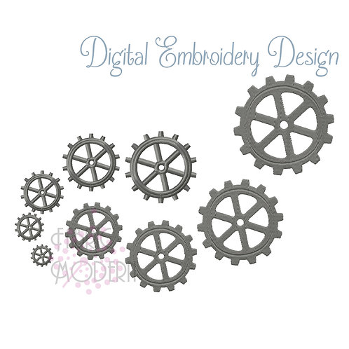 Gears Embroidery Design individual sprockets  #1057