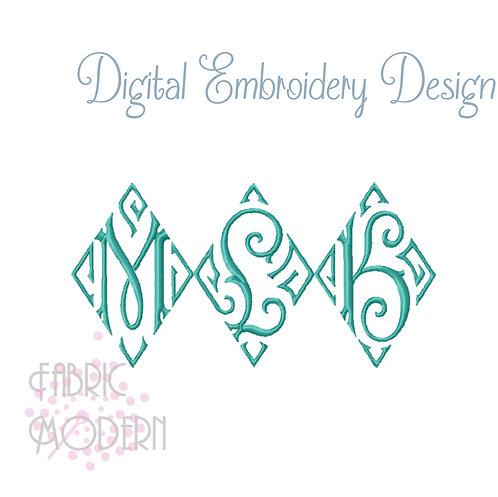3 inch Vintage style Diamond Monogram font Embroidery Design #1059-3