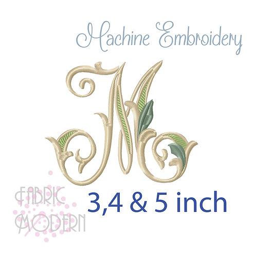 Fancy Letter M monogram three color #1128M