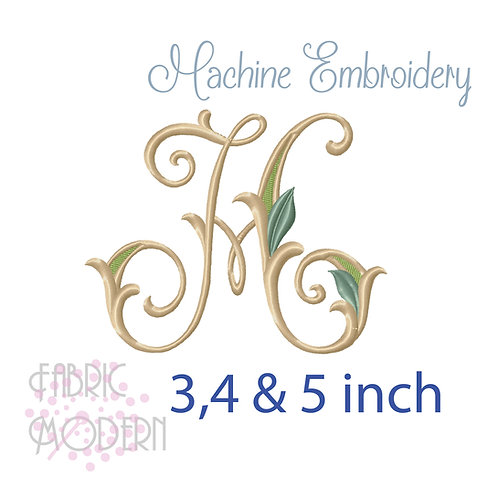 Fancy Letter H monogram three color #1128H
