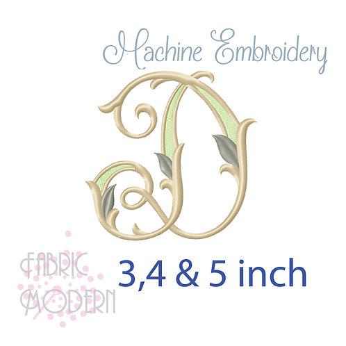 Fancy Letter D monogram three color #1128D