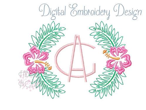 Tropical hibiscus flower monogram wreath border frame wedding machine embroidery