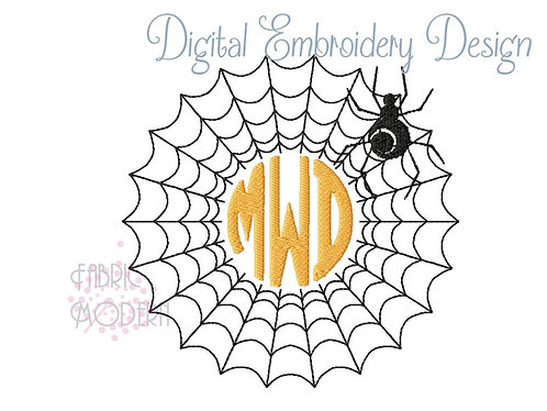 Spiderweb Monogram frame embroidery design for Halloween